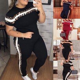 6xl mais tamanho casual de duas peças conjunto t-shirt de manga curta + calças longas magras verão sweatsuit sportswear faint terno em Promoção