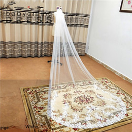 3M Lace Edge Cathedral Wedding Veils With Comb White Ivory Long Tulle Veils Wedding Accessories Bridal Veil velos de novia CPA3216