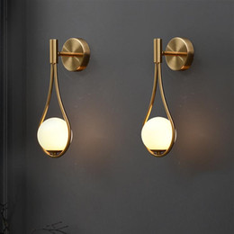 Wholesale led wall light Gold Color white glass shade G9 bedroom Bedside Restaurant Aisle Wall Sconce modern bathroom indoor lighting fixtures-L