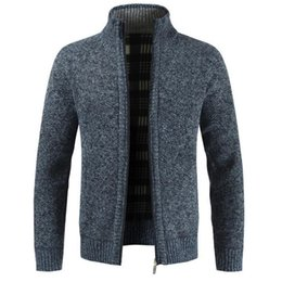 pull homme achat en gros de-news_sitemap_homeSfit hommes chaud épais Fashion Business Casual Cardigan Hommes Marque Slim Fit Maille Outwear Hiver chaud Pull Jumper