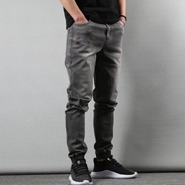 Wholesale style blue jeans design man for sale - Group buy Casual Style Fashion Men Jeans Slim Fit Gray Blue Color Tapered Trousers Hip Hop Jogger Pants Male Retro Design Denim Cargo Jean