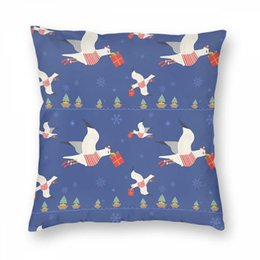 Wholesale quirky gifts for sale – custom Christmas Pillowcase Pillow Cover Christmas Quirky Seagulls With Gifts Christmas Printing For Bed Sofa Home Decorative PillowCover
