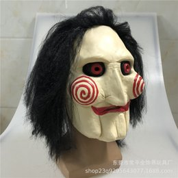 silicone puppet Australia - Movie Cosplay Chainsaw Unisex With Hair Masks Jigsaw Mask Saw Latex Creepy Halloween Horror Massacre Puppet Scary Party Wig Prop Wurux