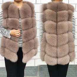 wool sleeveless vest Australia - New Women's Winter Real Fur Coat High Quality Natural Fox Fur Vest Fashion Luxurious Warm Sleeveless Dark buckle jacket 201214