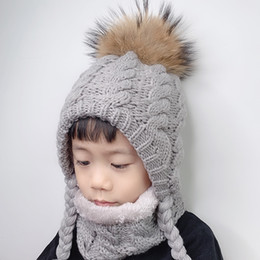 fur hats for kids NZ - Fur Pompom Beanie Kids Baby Winter Hat Fleece Inside Ear Protection Crochet Cap Warm Knitted Hat And Scarf Set For Children Y200110