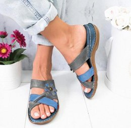 Summer Women Sandals Fashion Mixed Colors Appliques Low Heel Beach Flip Flops Female Retro Slides Sewing Casual Sandalias Size43 3aAf#