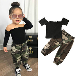 Wholesale camouflage sleeves t shirts children resale online - INS Fashion Infant Baby Girls Clothes Sets Off Shoulder T Shirts Tops Camouflage Pants Children Outfits