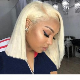 blonde full lace human hair wigs Canada - #613 Color Full lace Human Hair Wigs Colorful Bob Cut Straight Transparent Lace Front Wigs 130% Density Blonde Human Hair Wigs