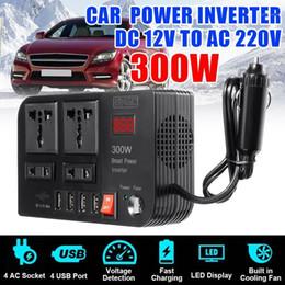 Wholesale KROAK 4 USB Inverter 300W DC12V to AC220V Voltage Transformer LED Modified Sine Wave Power Inverter DC12V to AC220V Converter1