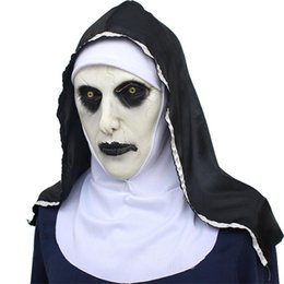 latex nun costume UK - The Full Cosplay Costume Terror Halloween Nun Head Masks Face Latex Mask JK2009KD Party Props Scary Bibpk