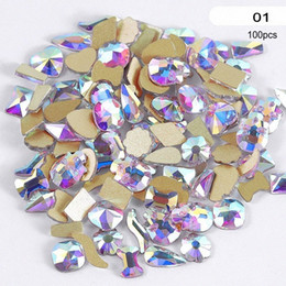 100Pcs Multi Shapes Glass Crystal AB Rhinestones For Nail Art Craft, Mix 8 Styles FlatBack Crystals 3D Decorations Flat Back R49 jhuD#