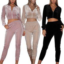 Wholesale 2pcs set sport tracksuit resale online – Women s Long Sleeve Sweatsuits Tracksuit Fashion Round Neck Tops Female Long Pants Jumpsuit Outfits Set Sports