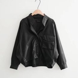 Wholesale big breasted lady for sale – winter Big Size Women Faux Leather Jacket Fashion Single Breasted Loose Long Sleeve Ladies Motorcycle Biker Pu Leather Coats Outwear
