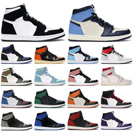 Wholesale New 1 high OG shoes 1s mid chicago royal toe black metallic gold pine green black UNC Patent men women Sneakers trainers