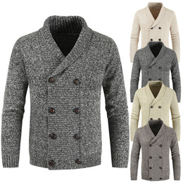 Wholesale oversized long cardigan resale online - Mens New Arrival Knitted Cardigan with Double Breasted Pure Color Turn Up Collar Korean Clothes Casual Oversized Cardigans