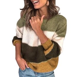 Wholesale cowl necked sweater for sale - Group buy Fashion Patchwork O neck Autumn Winter Sweater Women Long Sleeve Warm Knitted Sweaters Pullover Female Top Jumper