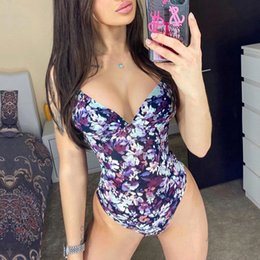 traje de baño púrpura floral al por mayor-2021 Hot Purple Floral Sexy Halter Ropa de baño Bikinis Set Ladies Beachwear One Piece Push Up Open Back Tsuit Traje de baño Q1230