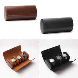 Wholesale roll out resale online - 3 Slots Watch Roll Travel Case Chic Portable Vintage Leather Display Watch Storage Box with Slid in Out Organizers