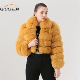 Wholesale model short coat women for sale - Group buy QIUCHEN PJ19021 New arrival real fox fur women winter short coat Fashion model High quality fox fur coat