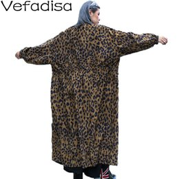 Wholesale skirt trench coat for sale - Group buy Vefadisa Autumn Winter Leopard Print Trench Coat Stand Collar Loose Coat Zipper Skirt Trench Woman Casual QYF748