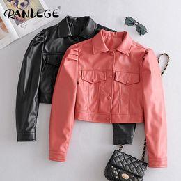 Wholesale puffed jacket for sale – custom RANLEGE Women High Street PU Faux Leather Cropped Moto Bike Jacket Puff Long Sleeve Pockets Coat Turn Down Collar Short Jackets