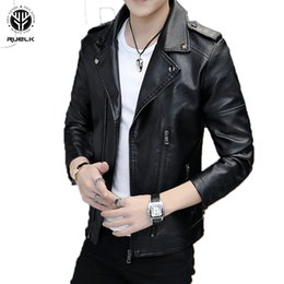 Wholesale leather sleeve trench coat for sale - Group buy RUELK Autumn New Pu Leather Jacket Slim Long Sleeve Men s Trend Fashion Aviator Jacket Trench Coat Men s Clothing M XL