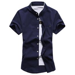 Wholesale white cotton shirt china resale online - Quality Stand Collar High China New Casual Linen Cotton Short Sleeve Man s Shirt Slim Plus size M XL XL XL XL