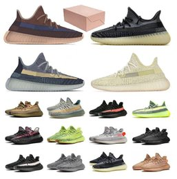 Wholesale blue true resale online - kanye west men women V2 blue tint bred butter core black copper green white semi frozen sesame sulfur triple true sneakers running shoes