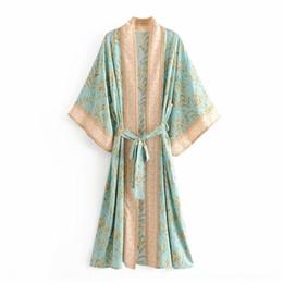 Wholesale lace kimono jacket resale online - uVuAR B9230 Turquoise Jacket vx8MH kimono wind women s new summer Turquoise positioning printing lace and Kimono Jacket for women up