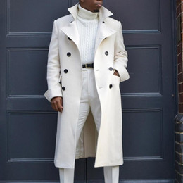 Wholesale winter white trench coat for sale - Group buy Man White Long Jackets Autumn Wool Blends Long Sleeve Trench Coat Fashion Men Plus Size Clothing Causal Winter Outerwear