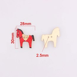 Discount horses children clothing Multicolor Horse 2hole Wooden Mixed Buttons Christmas Diy Decor Child Clothes Sewing Buttons Crafts Scrapbooking Decorat