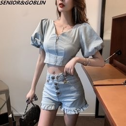 women sexy top jeans 2021 - 2 Two Piece Set Women Jeans Shorts Tracksuit Sets Sexy Summer Denim Crop Tops+Ruffles Shorts Suit Camouflage Print Outfits Y200824