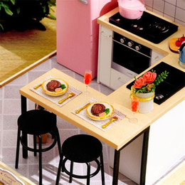 Discount diy dollhouse led lights 1:24 Wooden Dollhouse Miniatures DIY Kitchen Kit with Dust Cover & LED Light LJ200909