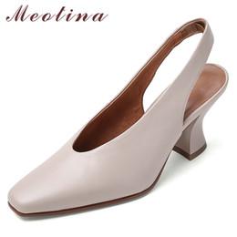 Heels Women Pumps Genuine Strange Style High Heel Slingbacks Cow Leather Square Toe Gloves Shoes