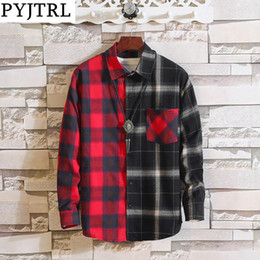 oversized shirts men Australia - PYJTRL Vintage Plaid Shirts Men Women Autumn High Street Hip Hop Oversized Couple Shirt