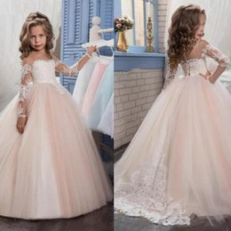 New 2021 Flower Girls Dresses Lace Top Spaghetti Formal Kids Wear For Party Free Shipping Toddler Gowns on Sale