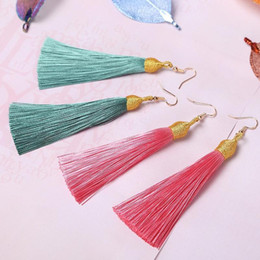 threaded jewelry NZ - 2pair Gold Silk Screw Thread Tassel Earrings Pendant Diy Jewelry Craft Supplies Fringe Bracelet Necklace Earring Accessories H qylYbq