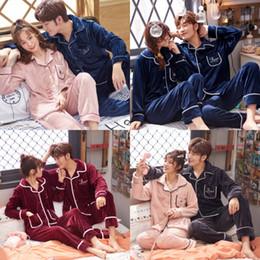 Wholesale mens winter pajamas for sale - Group buy New Luxurious Silk Satin Couple Pajamas Set Long Sleeve Trousers Flower Printed Sleepwear Women Mens Silk Pyjamas Set Plus Size XL T1910