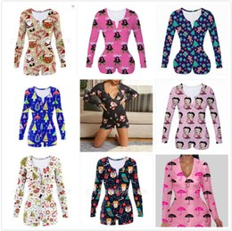 Wholesale women jumpsuits for sale – dress Women Jumpsuit Slim Sexy Halloween Fashion Home Wear Christmas Printed V neck Ladies New Tight Rompers