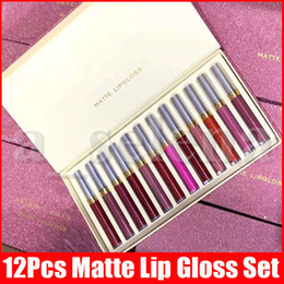 Discount gloss makeup set New Lip Makeup Set 12pcs Matte Liquid Lipstick 12 Colors a Set Lustrous Lip Gloss lipgloss lips Kit