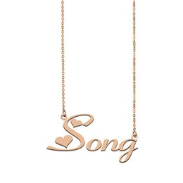Wholesale thanksgiving songs online – design Song Name Necklace Custom Nameplate Pendant for Women Girls Birthday Gift Kids Best Friends Jewelry k Gold Plated Stainless Steel