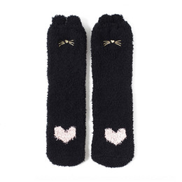 wholesale paw print Australia - Autumn and winter style coral velvet embroidery home cute cat's paw middle tube sleeping Household board board socks stereo ears floor socks