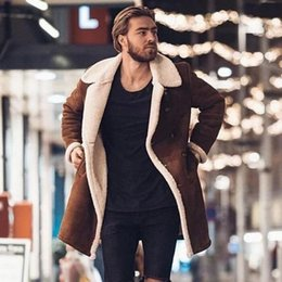 Wholesale trench coats for sale for sale - Group buy Brand New Winter Warm Men s Fashion Fleece Trench Coat Lapel Wool Blends Fitting Fluffy Overcoat for Daily Outerwear Hot Sale