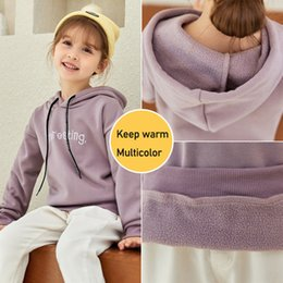 cute girl hoodie NZ - Pullovers Girls Long Sleeve Hoodies Autumn Spring Cute Kids Sweatshirt And Hoody Children Plus Velvet Hooded Casual Top F1202