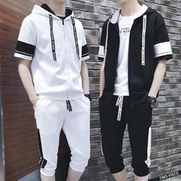 Wholesale twinset men resale online – 2020 Spring Summer New Fashion Male Even Hat Twinset Motion Suit Pattern Clothes Set Best tracksuit men gym Thin Short Hip Hop
