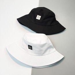 Wholesale bob flats online – design New Summer Hat Women Mens Panama Bucket Hat Smile Face Design Flat Sun Visor Fishing Fisherman Bob Hat Chapeu Femmes Hip Hop bbyFBp