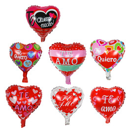 heart foil balloons NZ - 50pcs 10 Inch Spanish Heart Te Amo Foil Balloons Wedding Party Decorations Mother's Days Valentine's Day Air Globos Supplies 1027