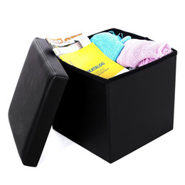 Hot sale safe footstool Square storage ottomans and footstool Practical PVC leather classic black durable footstool on Sale