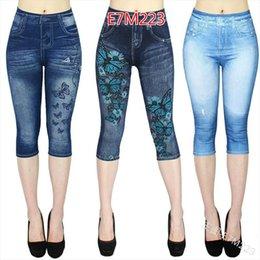 Wholesale capri jeggings resale online – WEPBEL NEW Womens Capri Leggings In Jeans Summer Leggings Jeggings Skinny Butterfly Printed Jegging Pants