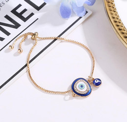 turkish blue eye bracelets 2021 - 2020 Turkish Lucky Blue Crystal Evil Eye Bracelets For Women Handmade Gold Chains Lucky Jewelry Bracelet Woma sqcCoC homes2007